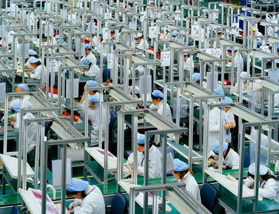 "Foxconn Apple Factory, China. ""Foxconn may replace 'iPhone 6 assembly line workers with robots."""