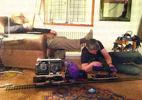 "The ""camera train"" used to film parts of ""Goodbye to Language 3D,"" from En Attendant Godard (Paris, 2014)"